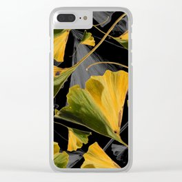 Yellow Ginkgo Leaves on Black Clear iPhone Case