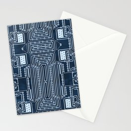 Blue Geek Motherboard Circuit Pattern Stationery Cards