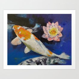 Gin Rin Koi and Water Lily Art Print