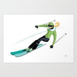 Ski Girl Slalom Art Print