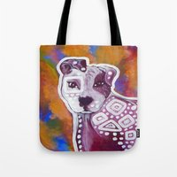 pitbull Tote Bags featuring Pitbull Art by Just Bailey Designs .com