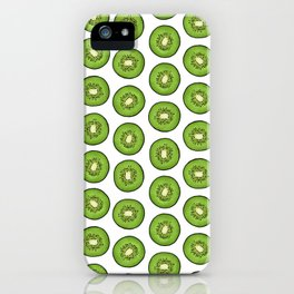 Green Kiwi Fruit Slices on white iPhone Case