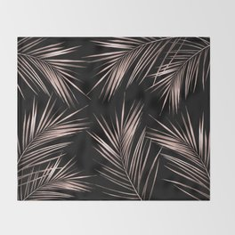 Rosegold Palm Tree Leaves on Midnight Black Throw Blanket