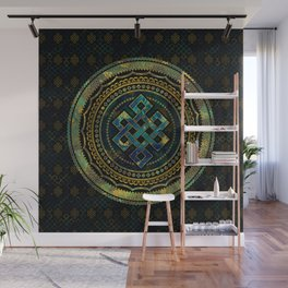Marble and Abalone Endless Knot  in Mandala Decorative Shape Wall Mural