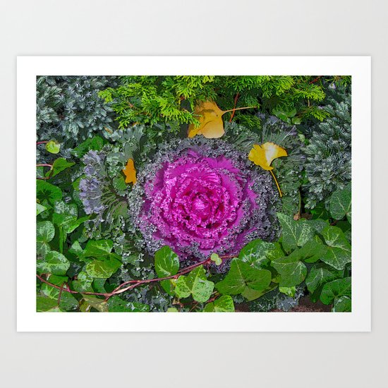 Kale with Autumn Leaves Art Print