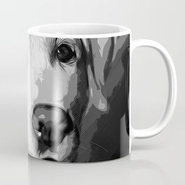 labrador retriever dog winking vector art black white Coffee Mug