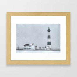 Outer Banks, Bodie Island Lighthouse in the Snow OBX NC Framed Art Print