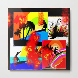 Posterized Surfing Collage Metal Print