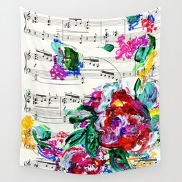 Musical Beauty - Floral Abstract - Piano Notes Wall Tapestry
