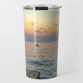 Seacoast of the peninsula of Rovinji at sunset Travel Mug