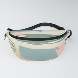 Mid-Century Modern Abstract In Pink, Blue, & Pastel Blond Fanny Pack