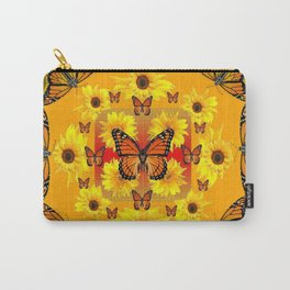 YELLOW SUNFLOWERS & MONARCH BUTTERFLIES Carry-All Pouch