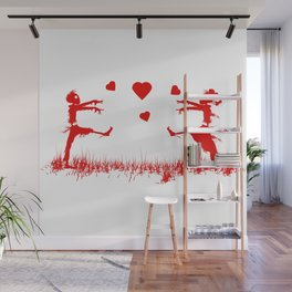 Zombies in Love Red Wall Mural