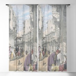 12,000px,400dpi-Johan Christian Dahl - A street scene in Cairo with a street seller at work - Digital Remastered Edition Sheer Curtain