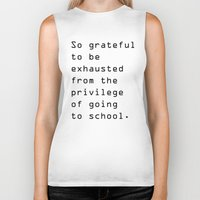 school Biker Tanks featuring school by Renee Monaco