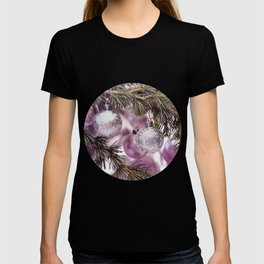 Pink Christmas shimmering baubles twig T-shirt