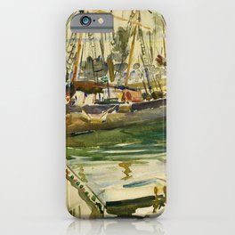 Ships in Harbor coastal nautical landscape painting by Hayley Lever iPhone Case