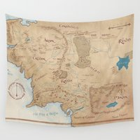 middle earth Wall Tapestries featuring Map of Middle Earth by Kaz Palladino