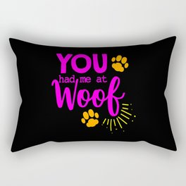Woof Bark Dog Dog Lovers Dog Owners Dog Mom Puppy Rectangular Pillow