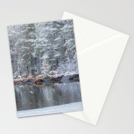 Snowing at the lake Stationery Cards
