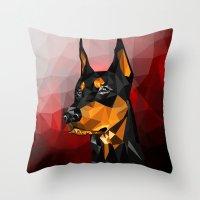 doberman Throw Pillows featuring Doberman by Ruveyda & Emre