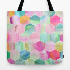 Pretty Pastel Hexagon Pattern in Oil Paint Tote Bag