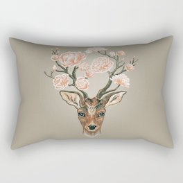 Deer and Peonies Rectangular Pillow