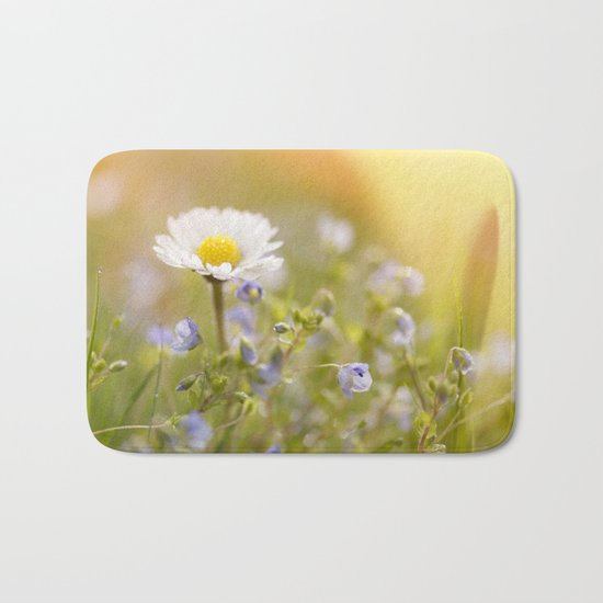 Daisy and court- Daisies Flowers Flower Meadow Spring #Society6 Bath Mat
