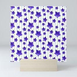 Flowers and Color Lines - Purple Mini Art Print