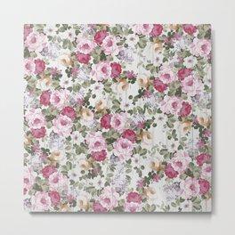 Vintage rustic white wood blush pink floral Metal Print