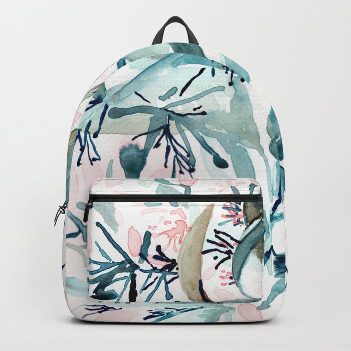 "G. Hand painted watercolor art ""Botanical Illusion"" Backpack"