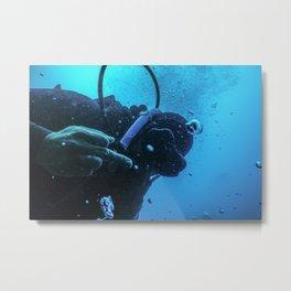 Scuba diver flipping off underwater, Middle finger Underwater Metal Print