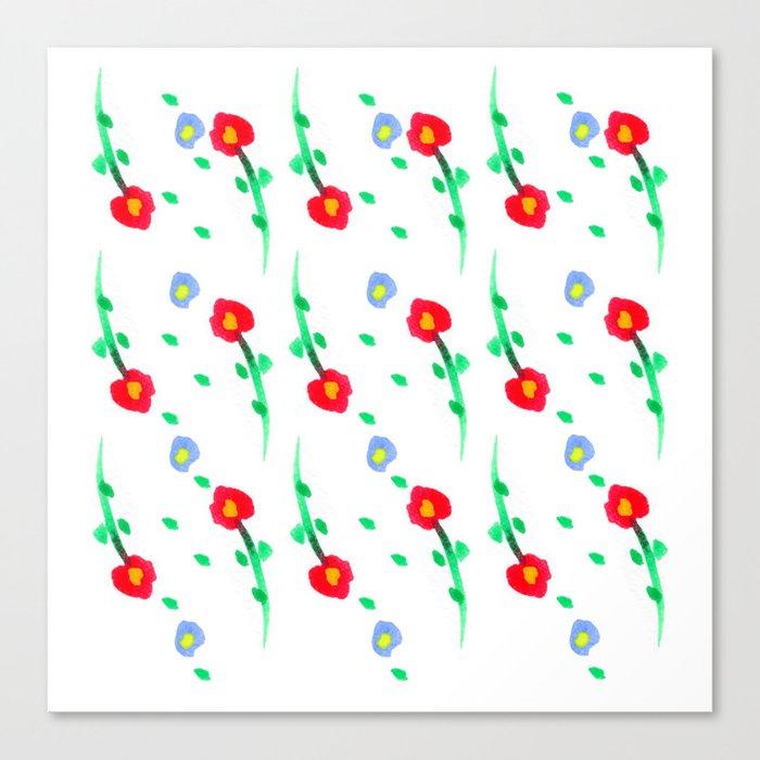 Doodle: flowers pattern Canvas Print