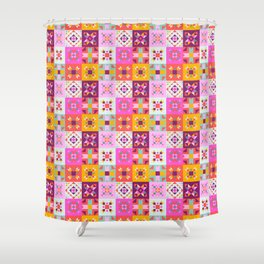 Maroccan tiles pattern with pink no4 Shower Curtain