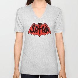 Satan Devil Bat Man Vintage Style Logo Unisex V-Neck