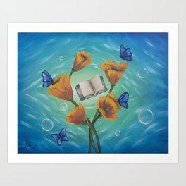 Books and Butterflies Art Print