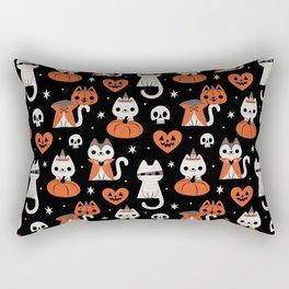 Halloween Kitties (Black) Rectangular Pillow