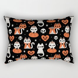 Halloween Kitties (Black) Rectangular Pillow