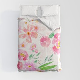 pink flowers and green leaf pattern  Comforters