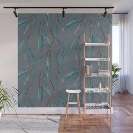 Eucalyptus leaves on grey Wall Mural