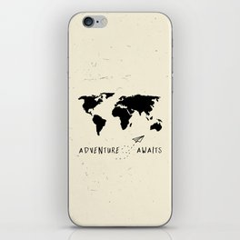 Adventure Map - Vintage Black iPhone Skin