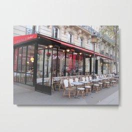 Sidewalk Cafe In Paris Metal Print