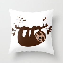 Sloth Lover Let's Hang Out Cute Sloth Gift Throw Pillow