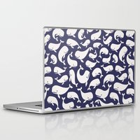 moby dick Laptop & iPad Skins featuring Moby Dick - Navy by Drivis