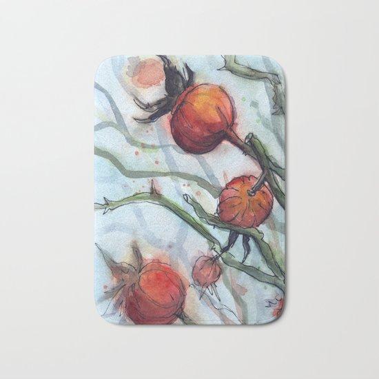 Rose Hips Abstract Watercolor Nature Bath Mat