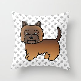 Cute Red Brindle Cairn Terrier Dog Cartoon Illustration Throw Pillow