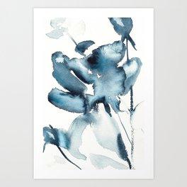 Paynes Gray Rose Art Print
