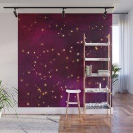 Plum Gold Stars Wall Mural