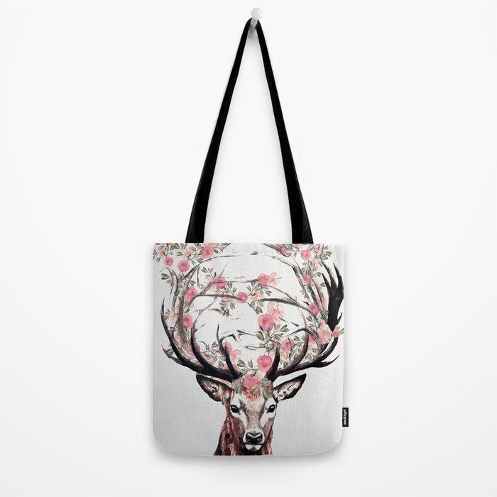 Deer and Flowers Tote Bag