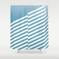 bands Shower Curtains featuring Blue Bands R. by blacknote